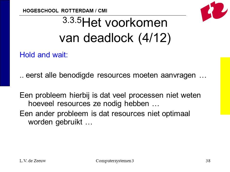 HOGESCHOOL ROTTERDAM / CMI L.V. de ZeeuwComputersystemen 338 3.3.5 Het voorkomen van deadlock (4/12) Hold and wait:.. eerst alle benodigde resources m
