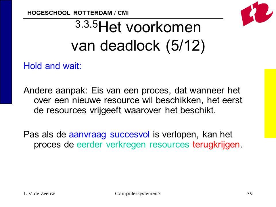 HOGESCHOOL ROTTERDAM / CMI L.V. de ZeeuwComputersystemen 339 3.3.5 Het voorkomen van deadlock (5/12) Hold and wait: Andere aanpak: Eis van een proces,