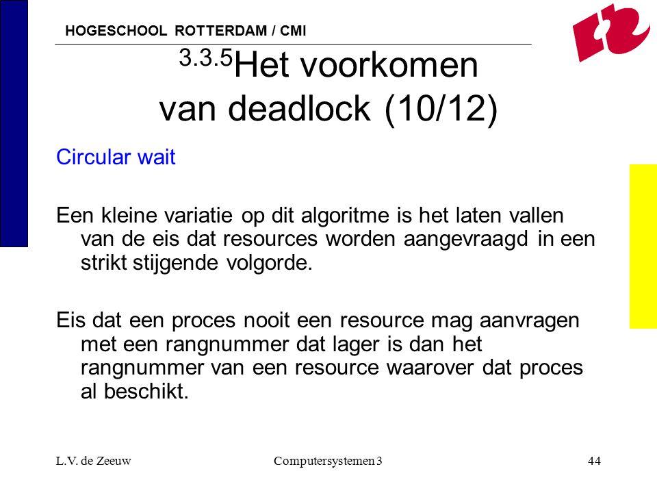 HOGESCHOOL ROTTERDAM / CMI L.V. de ZeeuwComputersystemen 344 3.3.5 Het voorkomen van deadlock (10/12) Circular wait Een kleine variatie op dit algorit