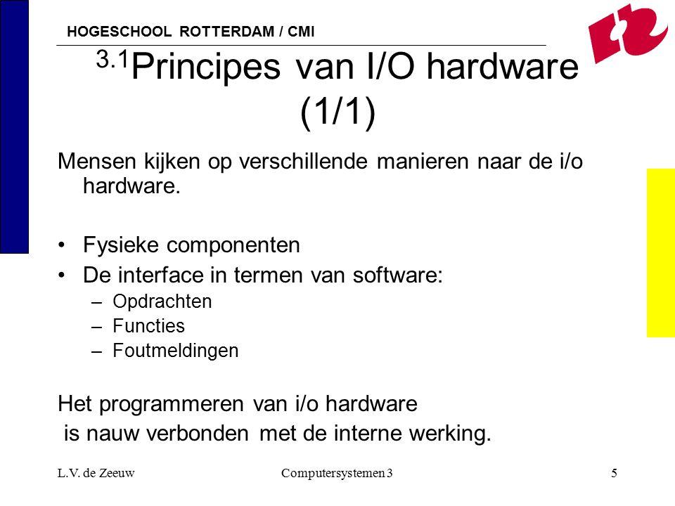 HOGESCHOOL ROTTERDAM / CMI L.V. de ZeeuwComputersystemen 35 3.1 Principes van I/O hardware (1/1) Mensen kijken op verschillende manieren naar de i/o h