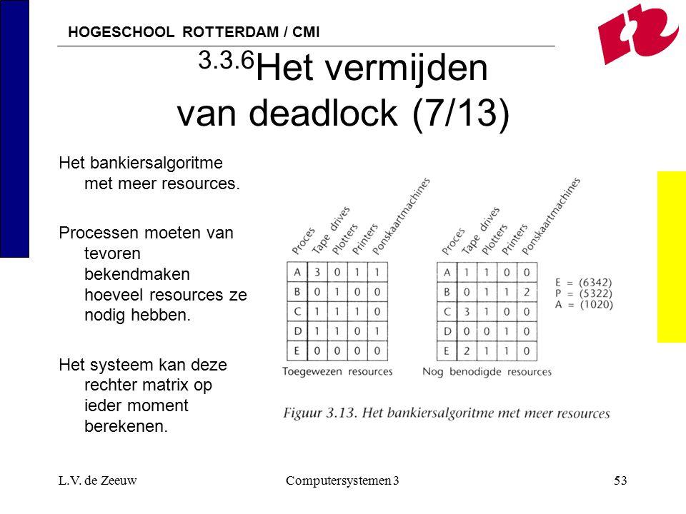 HOGESCHOOL ROTTERDAM / CMI L.V. de ZeeuwComputersystemen 353 3.3.6 Het vermijden van deadlock (7/13) Het bankiersalgoritme met meer resources. Process