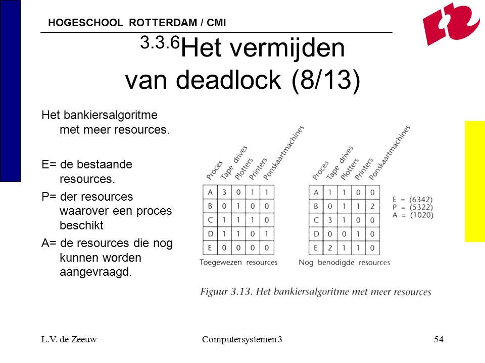 HOGESCHOOL ROTTERDAM / CMI L.V. de ZeeuwComputersystemen 354 3.3.6 Het vermijden van deadlock (8/13) Het bankiersalgoritme met meer resources. E= de b