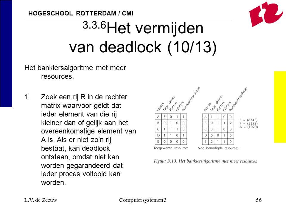 HOGESCHOOL ROTTERDAM / CMI L.V. de ZeeuwComputersystemen 356 3.3.6 Het vermijden van deadlock (10/13) Het bankiersalgoritme met meer resources. 1.Zoek