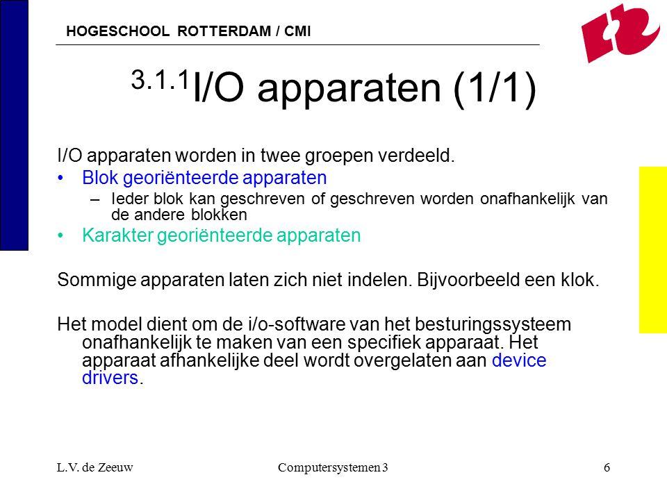 HOGESCHOOL ROTTERDAM / CMI L.V. de ZeeuwComputersystemen 36 3.1.1 I/O apparaten (1/1) I/O apparaten worden in twee groepen verdeeld. Blok georiënteerd