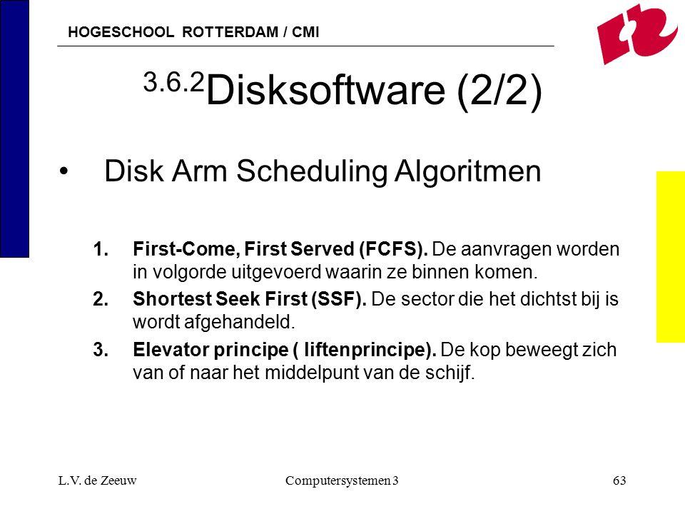 HOGESCHOOL ROTTERDAM / CMI L.V. de ZeeuwComputersystemen 363 3.6.2 Disksoftware (2/2) Disk Arm Scheduling Algoritmen 1.First-Come, First Served (FCFS)
