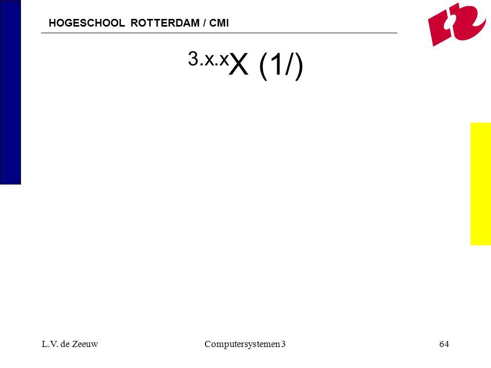 HOGESCHOOL ROTTERDAM / CMI L.V. de ZeeuwComputersystemen 364 3.x.x X (1/)