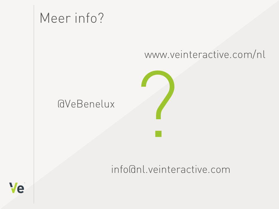 @VeBenelux info@nl.veinteractive.com Meer info www.veinteractive.com/nl