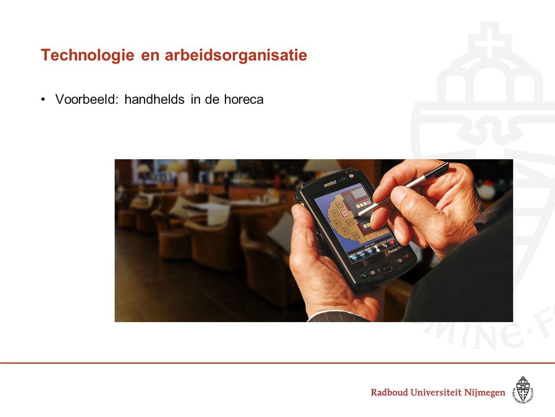 Technologie en arbeidsorganisatie Voorbeeld: handhelds in de horeca