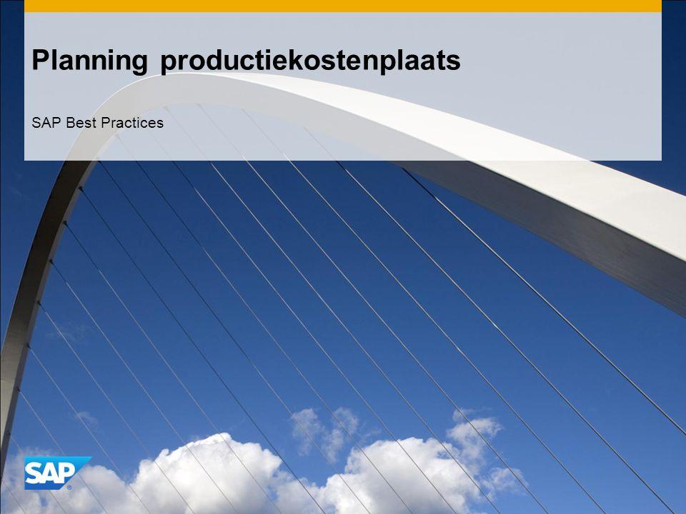 Planning productiekostenplaats SAP Best Practices