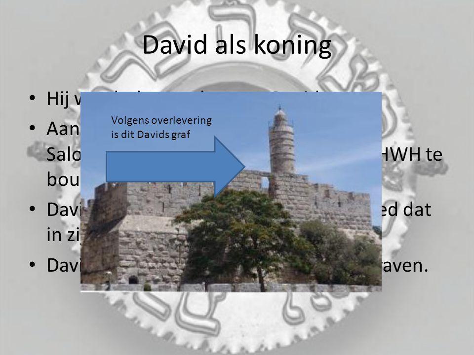 David als koning Hij wordt de opvolger van David Aan het eind van Davids leven geeft hij Salomo de opdracht een tempel voor JHWH te bouwen David mocht dat niet, vanwege het bloed dat in zijn leven vergoten was.