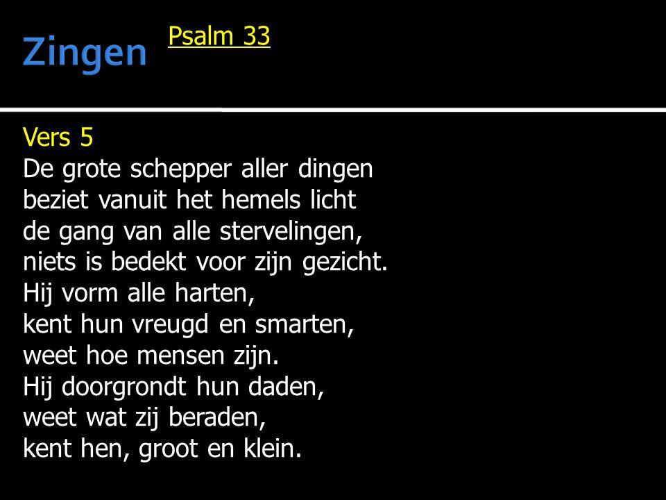 Vers 5 De grote schepper aller dingen beziet vanuit het hemels licht de gang van alle stervelingen, niets is bedekt voor zijn gezicht. Hij vorm alle h