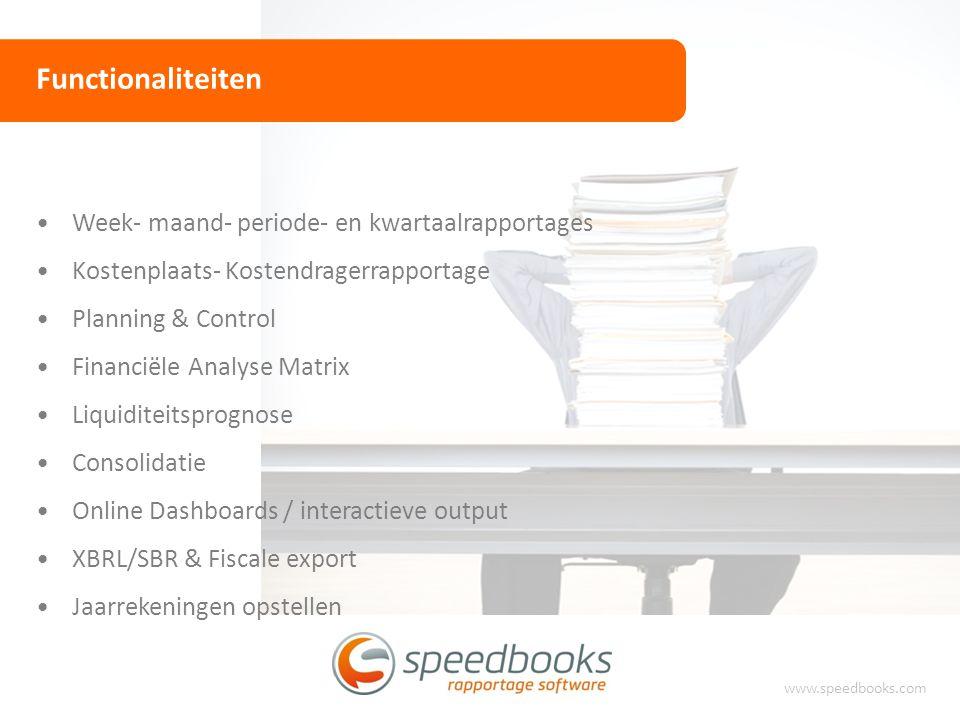Functionaliteiten www.speedbooks.com Week- maand- periode- en kwartaalrapportages Kostenplaats- Kostendragerrapportage Planning & Control Financiële A