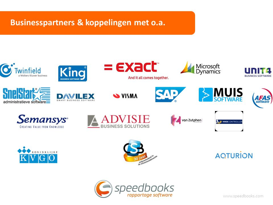 Businesspartners & koppelingen met o.a. www.speedbooks.com
