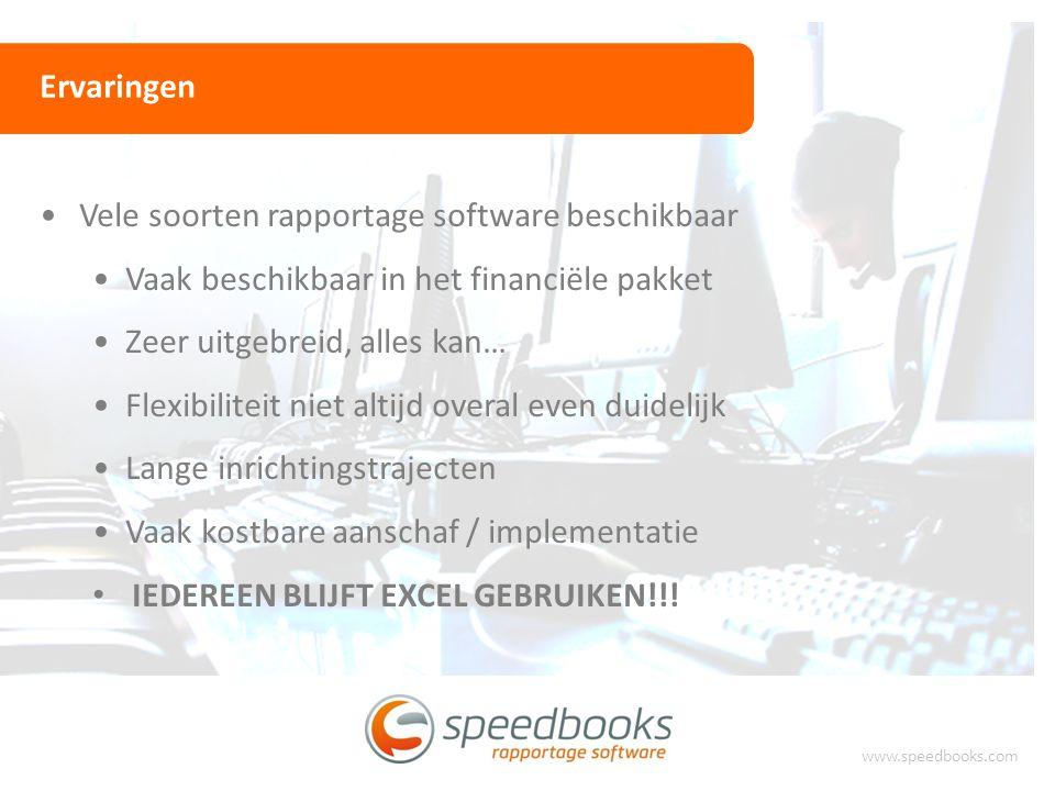 Ervaringen www.speedbooks.com Vele soorten rapportage software beschikbaar Vaak beschikbaar in het financiële pakket Zeer uitgebreid, alles kan… Flexi