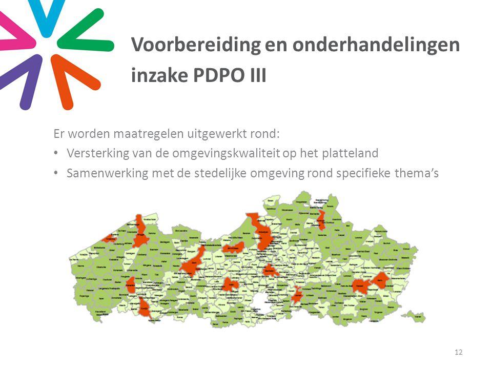 Voorbereiding en onderhandelingen inzake PDPO III Er worden maatregelen uitgewerkt rond: Versterking van de omgevingskwaliteit op het platteland Samenwerking met de stedelijke omgeving rond specifieke thema's 12