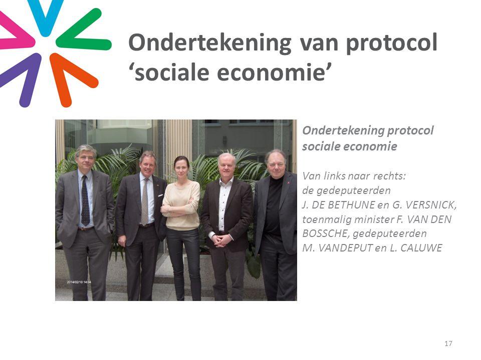 Ondertekening van protocol 'sociale economie' 17 Ondertekening protocol sociale economie Van links naar rechts: de gedeputeerden J.