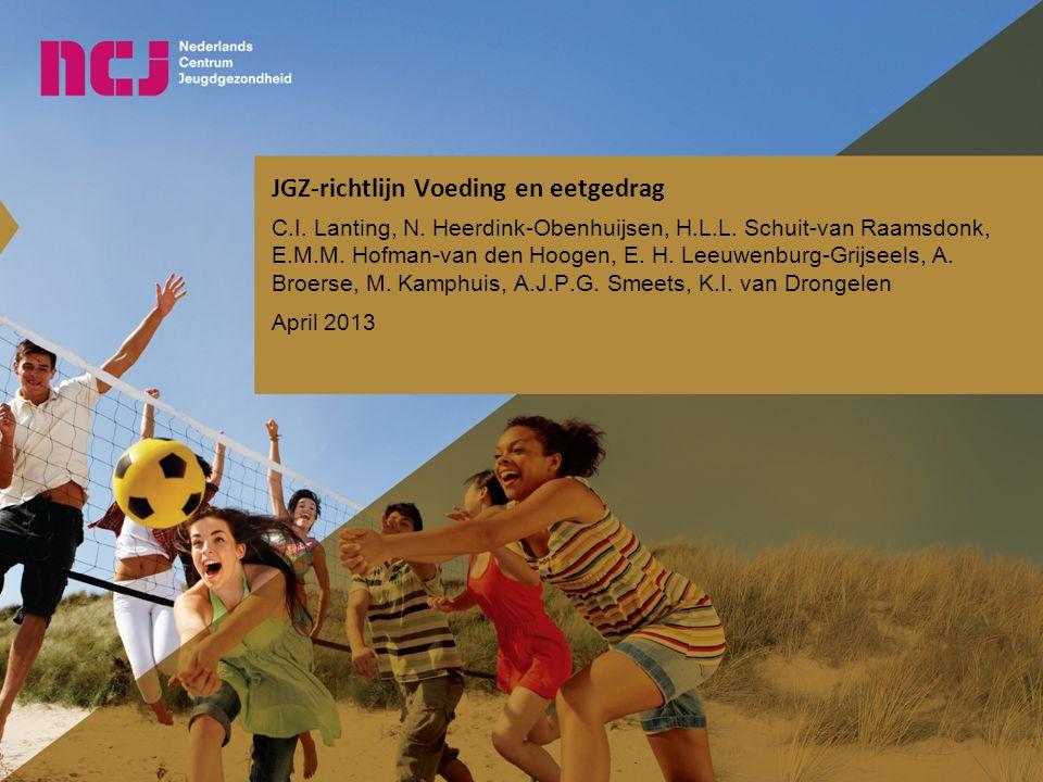 Overige interventies Indien hiervoor lokale of regionale mogelijkheden zijn: Kortdurende pedagogische – gedragsmatige begeleiding door de JGZ Begeleiding door gedragswetenschapper (pedagoog) van het CJG Videohometraining 5 en 11 november 2013Regiobijeenkomst scholing JGZ-richtlijn Voeding en eetgedrag