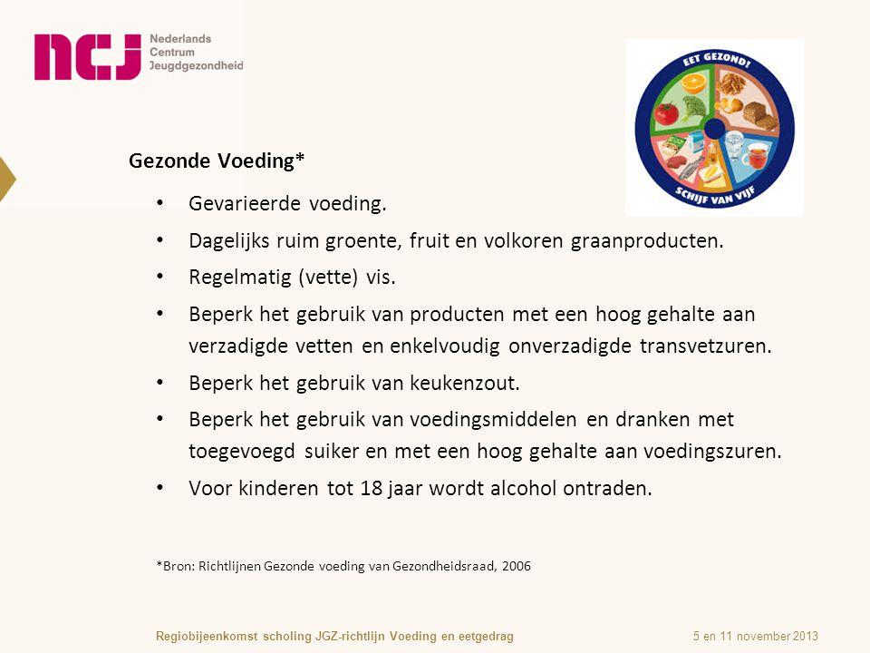 Gezonde Voeding* 5 en 11 november 2013Regiobijeenkomst scholing JGZ-richtlijn Voeding en eetgedrag *Bron: Richtlijnen Gezonde voeding van Gezondheidsraad, 2006 Gevarieerde voeding.