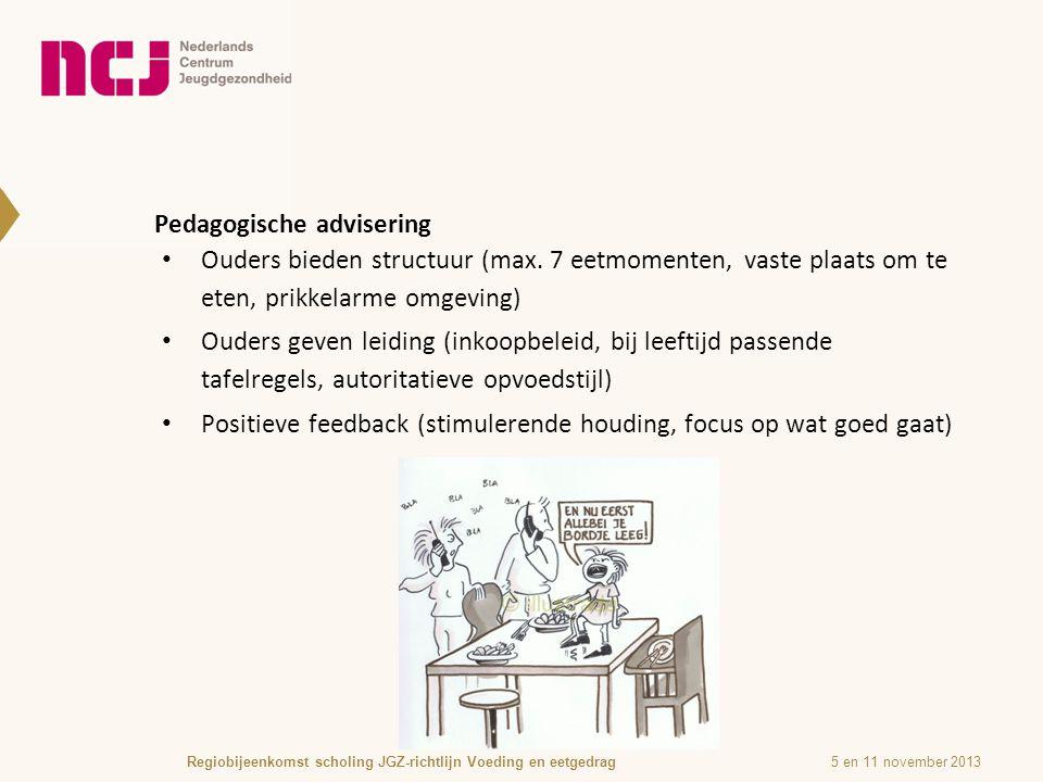 Pedagogische advisering 5 en 11 november 2013Regiobijeenkomst scholing JGZ-richtlijn Voeding en eetgedrag Ouders bieden structuur (max.