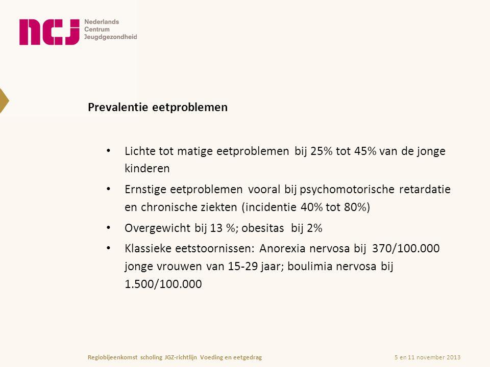 Prevalentie eetproblemen Lichte tot matige eetproblemen bij 25% tot 45% van de jonge kinderen Ernstige eetproblemen vooral bij psychomotorische retardatie en chronische ziekten (incidentie 40% tot 80%) Overgewicht bij 13 %; obesitas bij 2% Klassieke eetstoornissen: Anorexia nervosa bij 370/100.000 jonge vrouwen van 15-29 jaar; boulimia nervosa bij 1.500/100.000 5 en 11 november 2013Regiobijeenkomst scholing JGZ-richtlijn Voeding en eetgedrag