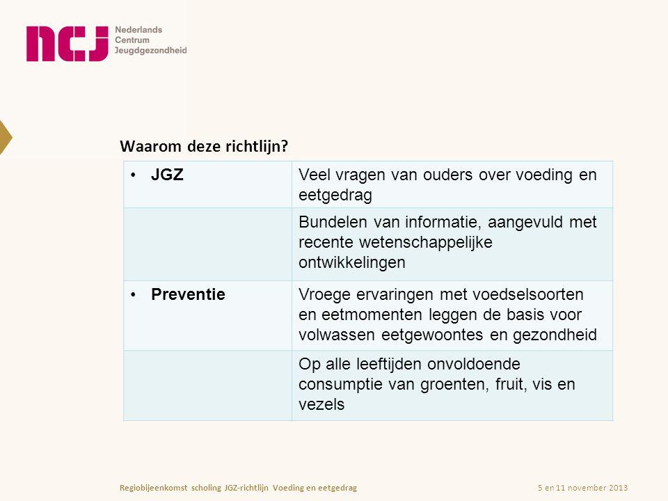 5 en 11 november 2013Regiobijeenkomst scholing JGZ-richtlijn Voeding en eetgedrag