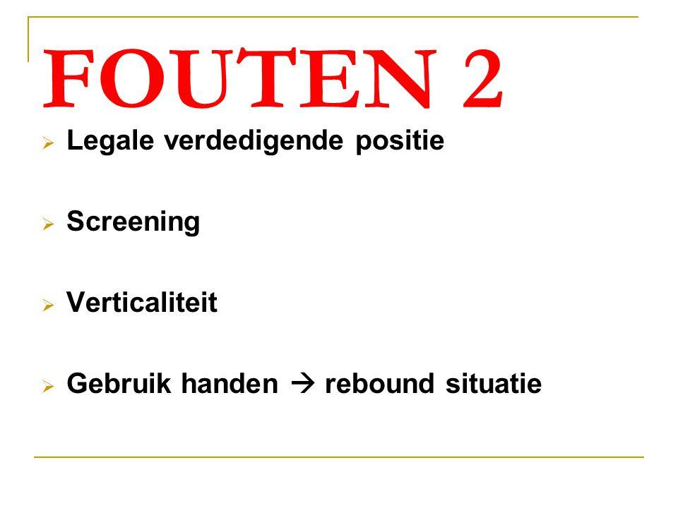 FOUTEN 2  Legale verdedigende positie  Screening  Verticaliteit  Gebruik handen  rebound situatie
