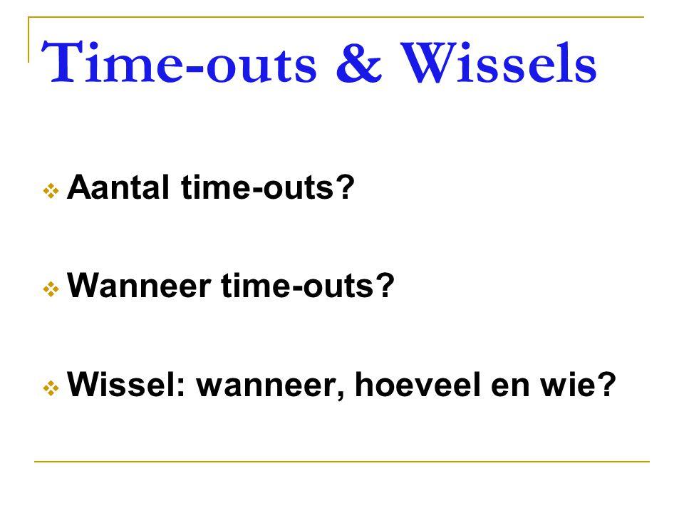 Time-outs & Wissels  Aantal time-outs?  Wanneer time-outs?  Wissel: wanneer, hoeveel en wie?