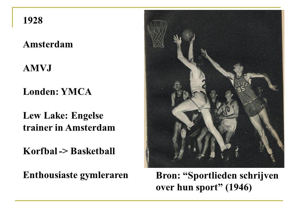 """1928 Amsterdam AMVJ Londen: YMCA Lew Lake: Engelse trainer in Amsterdam Korfbal -> Basketball Enthousiaste gymleraren Bron: """"Sportlieden schrijven ove"""