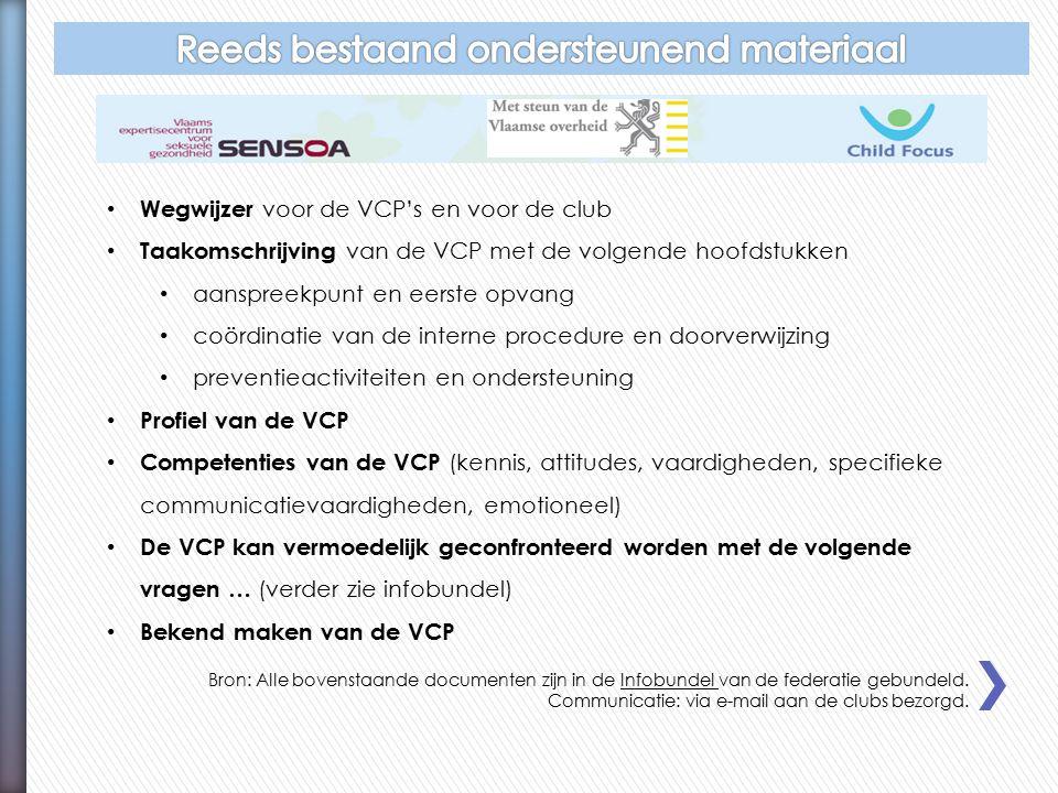 Wegwijzer voor de VCP's en voor de club Taakomschrijving van de VCP met de volgende hoofdstukken aanspreekpunt en eerste opvang coördinatie van de interne procedure en doorverwijzing preventieactiviteiten en ondersteuning Profiel van de VCP Competenties van de VCP (kennis, attitudes, vaardigheden, specifieke communicatievaardigheden, emotioneel) De VCP kan vermoedelijk geconfronteerd worden met de volgende vragen … (verder zie infobundel) Bekend maken van de VCP Bron: Alle bovenstaande documenten zijn in de Infobundel van de federatie gebundeld.