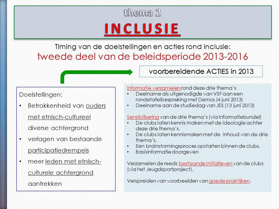 Timing van de doelstellingen en acties rond inclusie: tweede deel van de beleidsperiode 2013-2016 Doelstellingen: Betrokkenheid van ouders met etnisch-cultureel diverse achtergrond verlagen van bestaande participatiedrempels meer leden met etnisch- culturele achtergrond aantrekken voorbereidende ACTIES in 2013 Informatie verzamelen rond deze drie thema's Deelname als uitgenodigde van VSF aan een rondetafelbespreking met Demos (4 juni 2013) Deelname aan de studiedag van JES (13 juni 2013) Sensibilisering van de drie thema's (via Informatiebundel) De clubs laten kennis maken met de ideologie achter deze drie thema's.