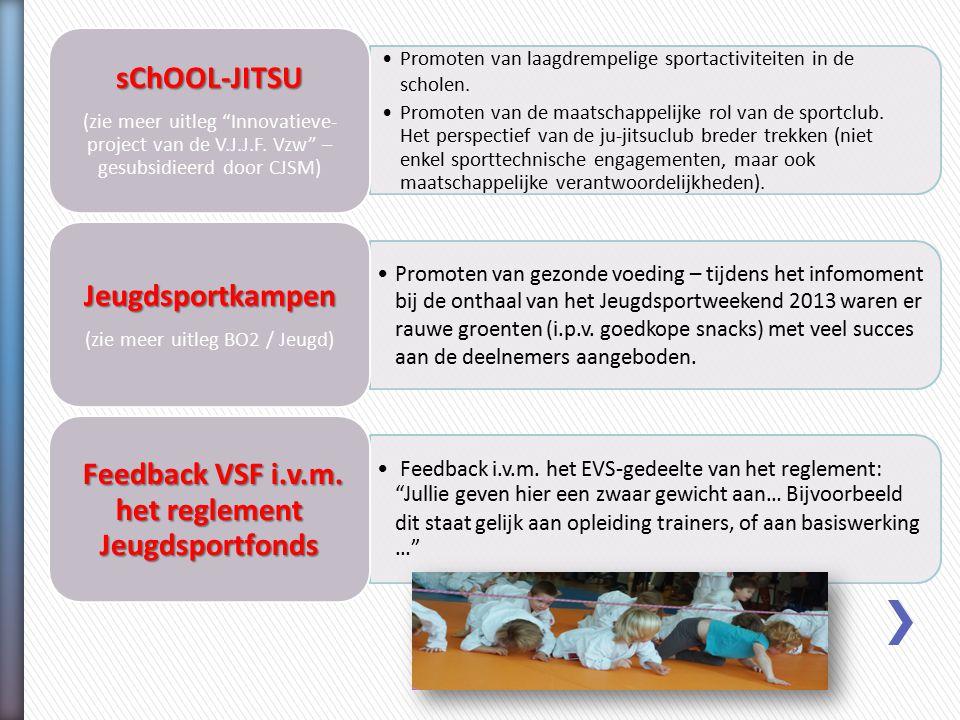 Promoten van laagdrempelige sportactiviteiten in de scholen. Promoten van de maatschappelijke rol van de sportclub. Het perspectief van de ju-jitsuclu