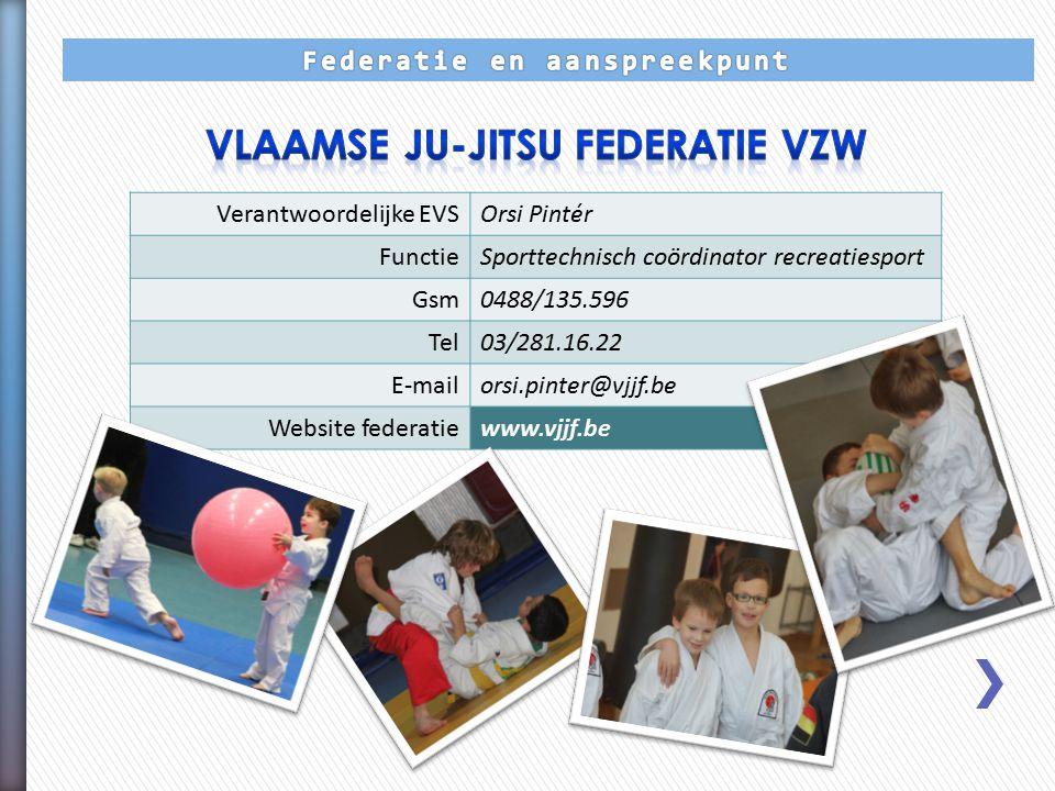 Verantwoordelijke EVSOrsi Pintér FunctieSporttechnisch coördinator recreatiesport Gsm0488/135.596 Tel03/281.16.22 E-mailorsi.pinter@vjjf.be Website federatiewww.vjjf.be