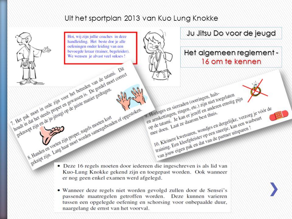 Uit het sportplan 2013 van Kuo Lung Knokke Ju Jitsu Do voor de jeugd Het algemeen reglement - 16 om te kennen