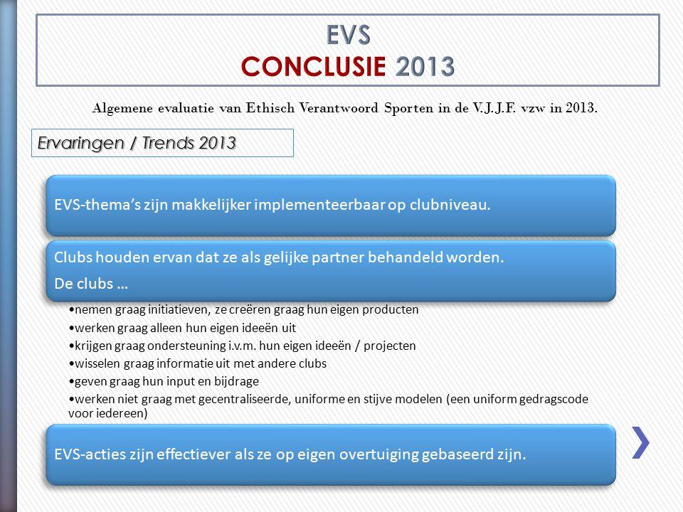 Algemene evaluatie van Ethisch Verantwoord Sporten in de V.J.J.F. vzw in 2013. Ervaringen / Trends 2013 EVS-thema's zijn makkelijker implementeerbaar