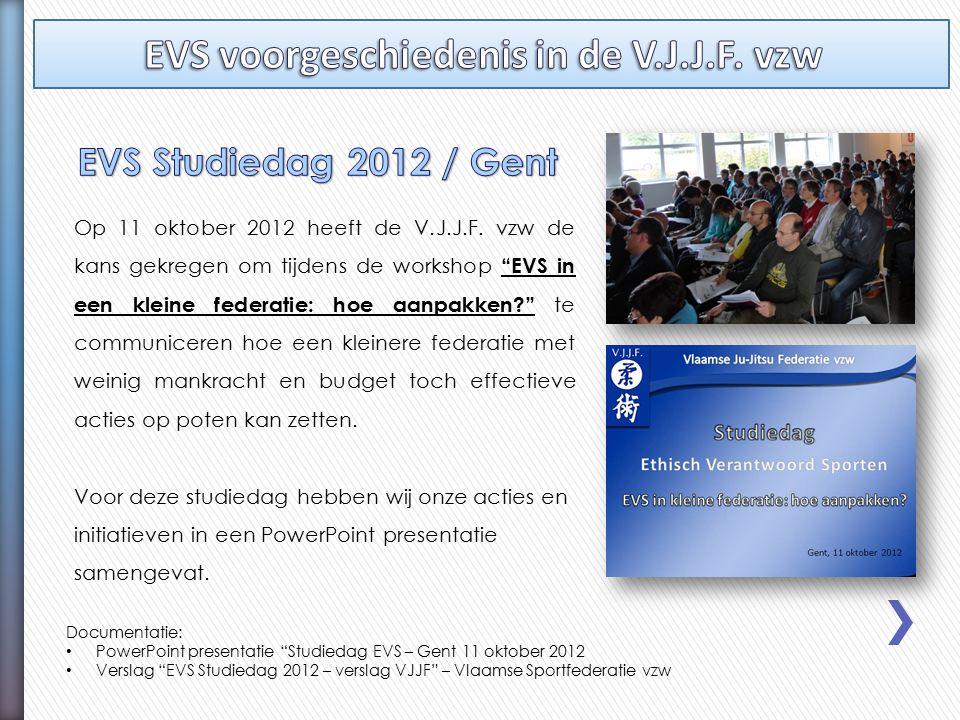 """Op 11 oktober 2012 heeft de V.J.J.F. vzw de kans gekregen om tijdens de workshop """"EVS in een kleine federatie: hoe aanpakken?"""" te communiceren hoe een"""