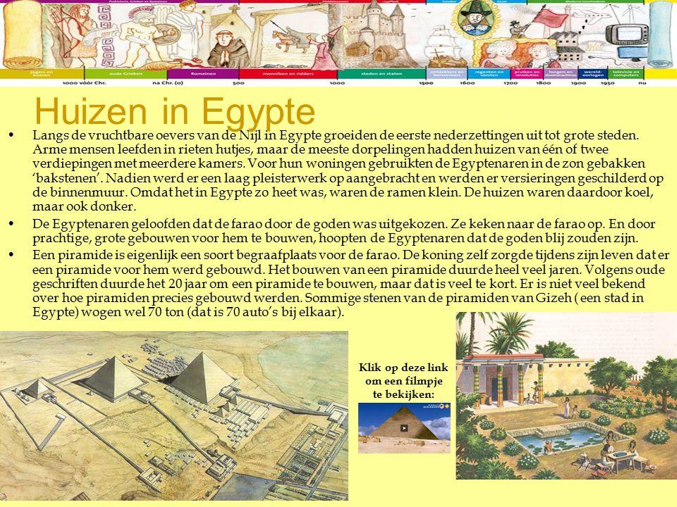 Langs de vruchtbare oevers van de Nijl in Egypte groeiden de eerste nederzettingen uit tot grote steden. Arme mensen leefden in rieten hutjes, maar de