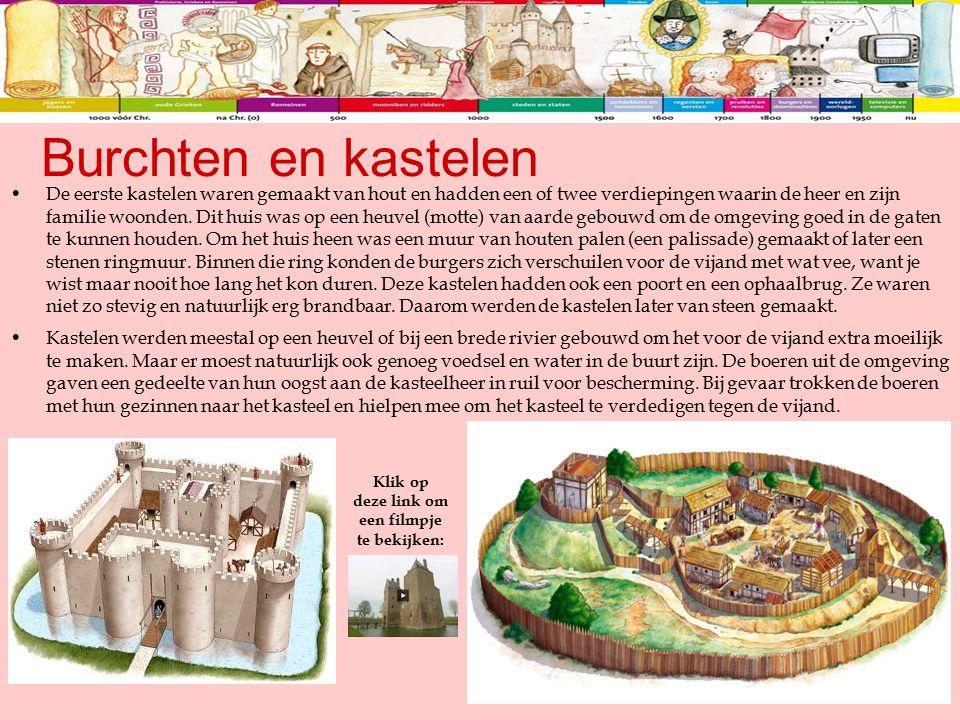 Burchten en kastelen De eerste kastelen waren gemaakt van hout en hadden een of twee verdiepingen waarin de heer en zijn familie woonden. Dit huis was