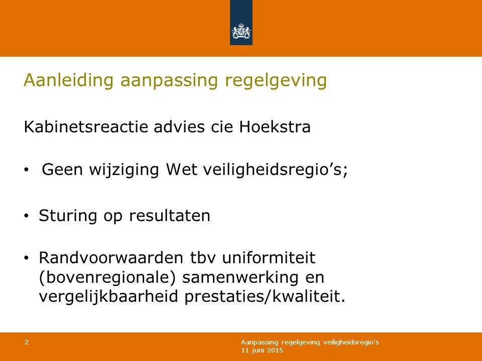 Aanpassing regelgeving veiligheidsregio s 11 juni 2015 Aanleiding aanpassing regelgeving Kabinetsreactie advies cie Hoekstra Geen wijziging Wet veiligheidsregio's; Sturing op resultaten Randvoorwaarden tbv uniformiteit (bovenregionale) samenwerking en vergelijkbaarheid prestaties/kwaliteit.