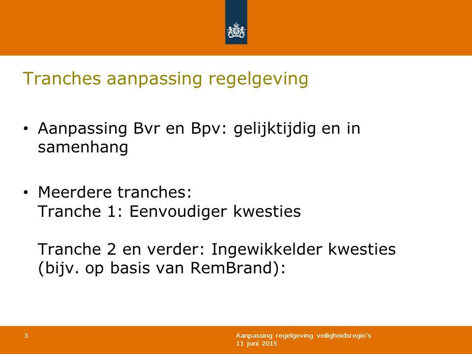 Aanpassing regelgeving veiligheidsregio's 11 juni 2015 Tranches aanpassing regelgeving Aanpassing Bvr en Bpv: gelijktijdig en in samenhang Meerdere tr