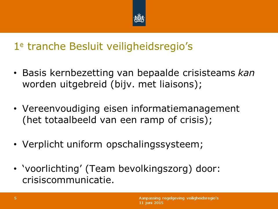 Aanpassing regelgeving veiligheidsregio s 11 juni 2015 1 e tranche Besluit veiligheidsregio's Basis kernbezetting van bepaalde crisisteams kan worden uitgebreid (bijv.