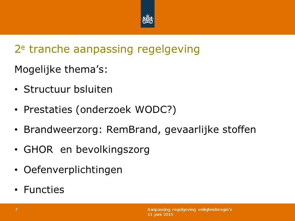 Aanpassing regelgeving veiligheidsregio's 11 juni 2015 2 e tranche aanpassing regelgeving Mogelijke thema's: Structuur bsluiten Prestaties (onderzoek
