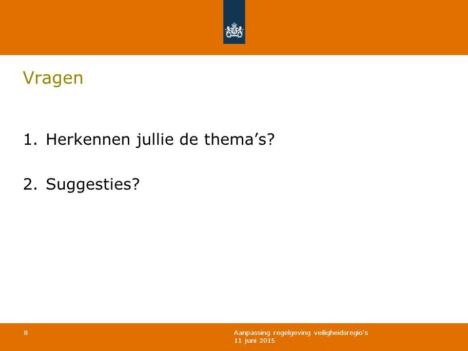 Aanpassing regelgeving veiligheidsregio's 11 juni 2015 Vragen 1. Herkennen jullie de thema's? 2. Suggesties? 8