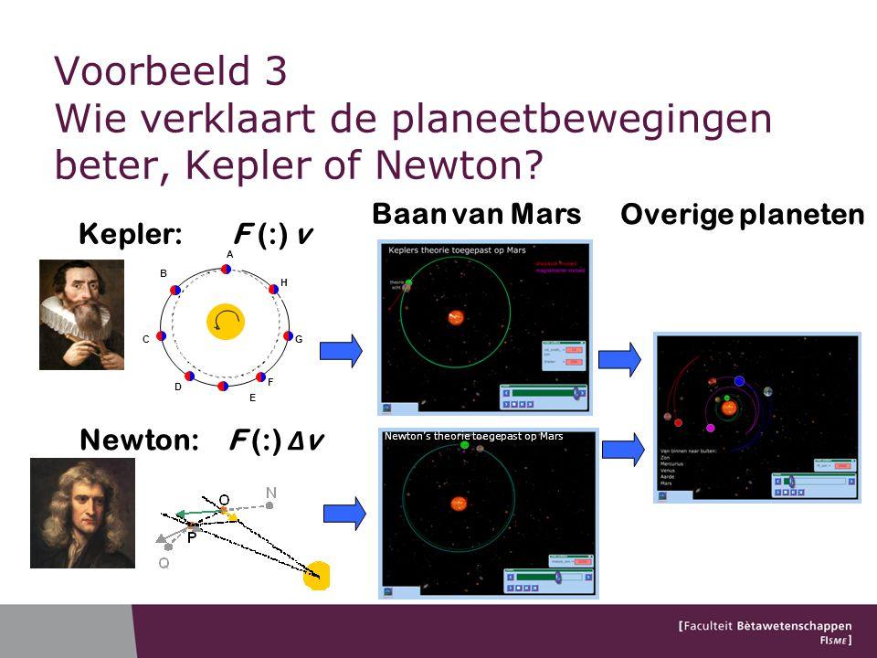 Voorbeeld 3 Wie verklaart de planeetbewegingen beter, Kepler of Newton.