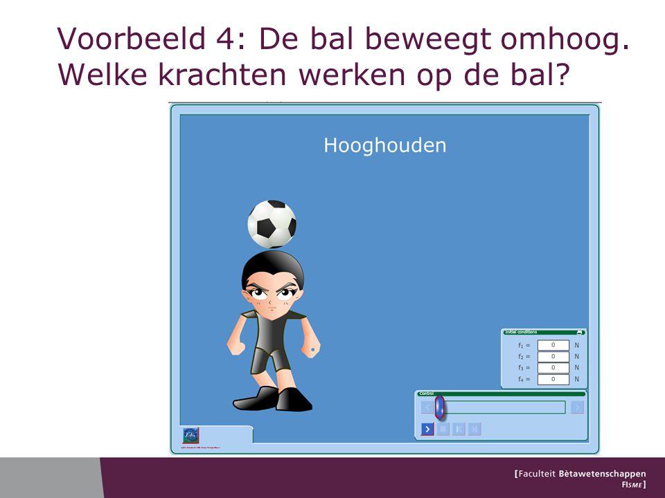 Voorbeeld 4: De bal beweegt omhoog. Welke krachten werken op de bal