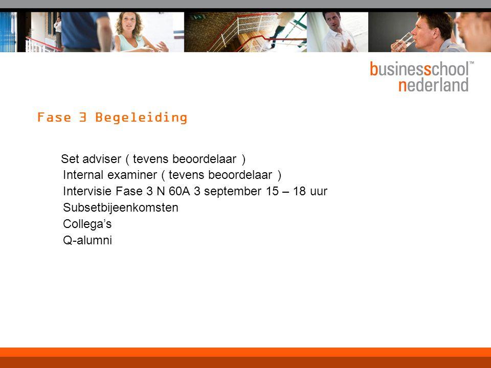 Fase 3 Begeleiding Set adviser ( tevens beoordelaar ) Internal examiner ( tevens beoordelaar ) Intervisie Fase 3 N 60A 3 september 15 – 18 uur Subsetbijeenkomsten Collega's Q-alumni