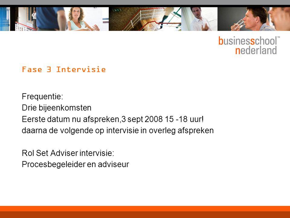 Fase 3 Intervisie Frequentie: Drie bijeenkomsten Eerste datum nu afspreken,3 sept 2008 15 -18 uur.