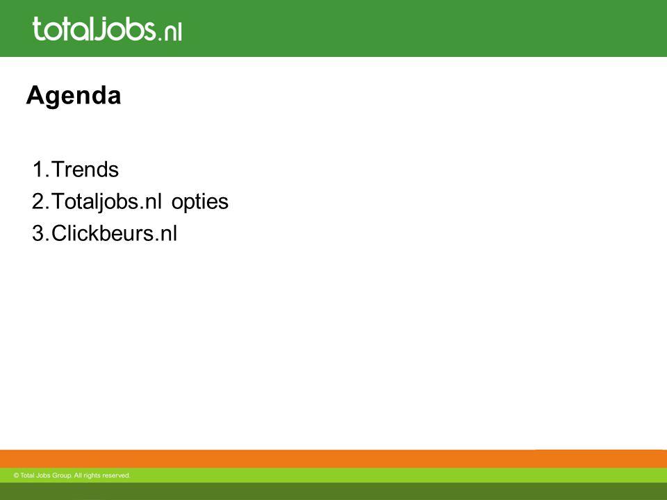 Agenda 1.Trends 2.Totaljobs.nl opties 3.Clickbeurs.nl