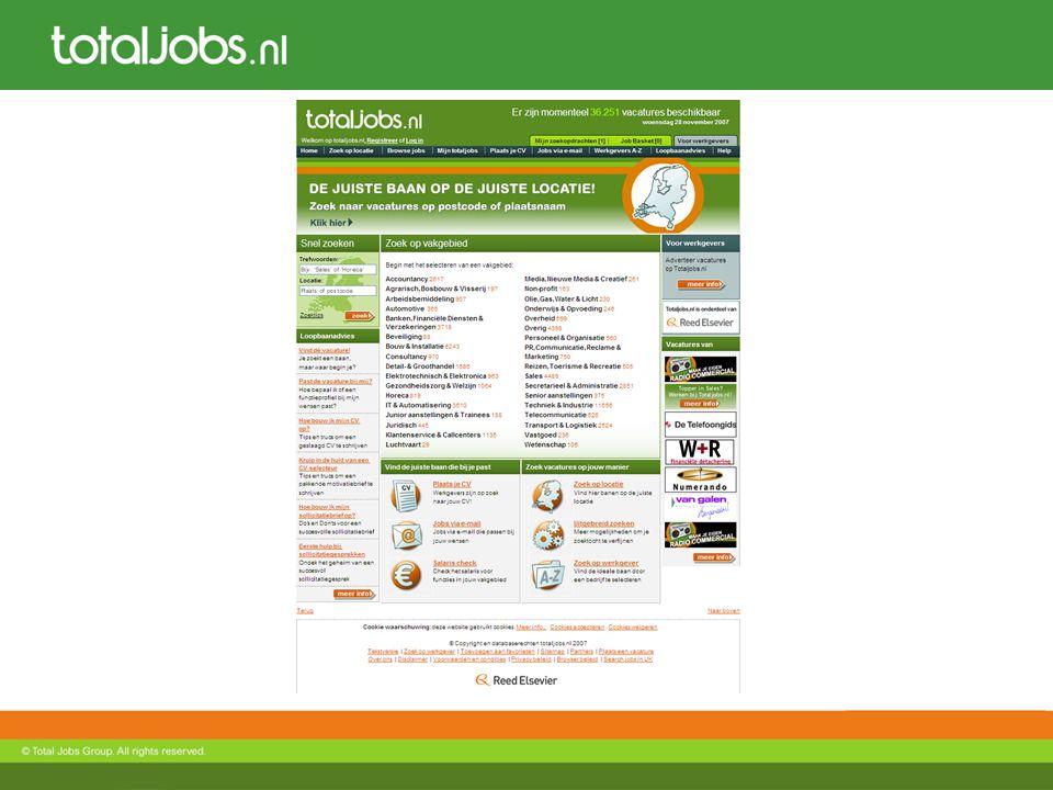 Volume 35.000 vacatures live 400.000 unieke bezoekers per maand 230.000 CV database profielen 33 sectoren