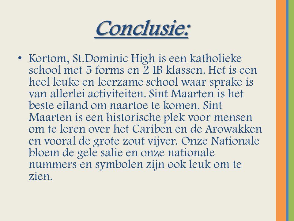 Conclusie: Kortom, St.Dominic High is een katholieke school met 5 forms en 2 IB klassen.