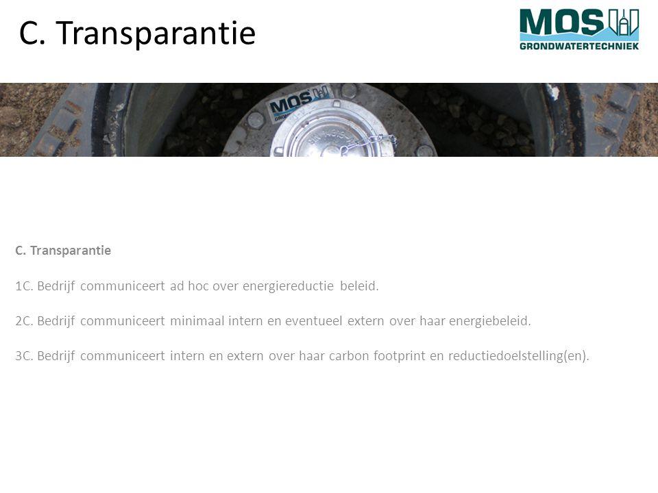 C. Transparantie 1C. Bedrijf communiceert ad hoc over energiereductie beleid.